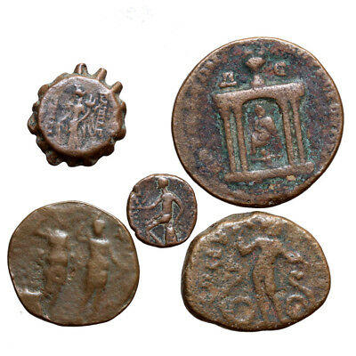 Nice Lot Of 5 Roman Provincial And Ancient Greek Bronze Coins