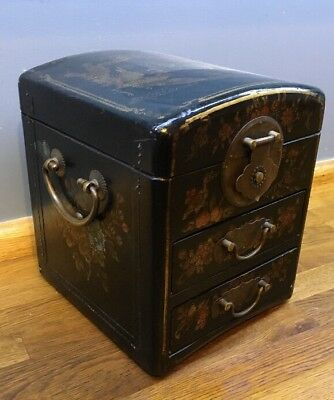 Stunning Vintage Chinese Style Lacquered Jewellery Trinket Box Mirror Drawers
