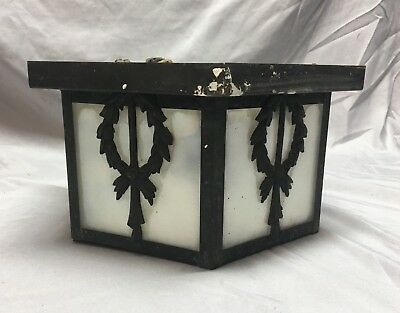 Antique Ceiling Light Fixture Decorative Wreath Milk Glass Old Vtg 100-18J