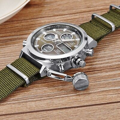 LED Light Tactical Men's Digital Sports Army Canvas Nylon Dual Time Wrist Watch