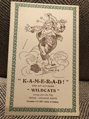 "Postcard KAMERAD! The 81st Div ""Wildcats"", Nov. 7-11 1918, Soldier's Mail, WWI"