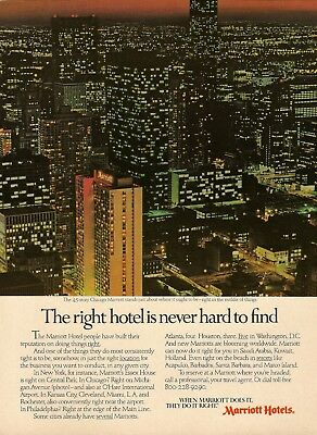 1980 Marriott Hotels Chicago city scape aerial night lights Vintage Print Ad