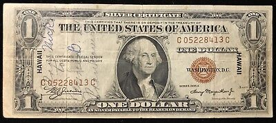 1935A $1 Hawaii Silver Certificate - C.c * Short Snorter * Several Names 1943
