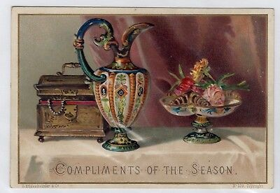 1800's Victorian Card - Compliments Of The Season - Greeting - Free Comb Ship!