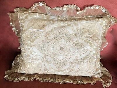Antique Embroidered French Tulle Net Lace Bed Pillow Victorian As Is