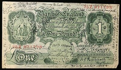 Pound Great Britain English * Short Snorter Many Names & Locations * Great Note