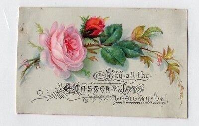 1800'S VICTORIAN CARD - EASTER GREETING w PINK RED ROSES - SELLING LOT OF CARDS