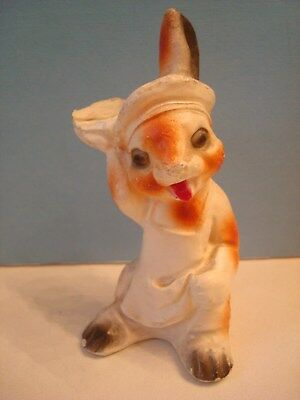 VINTAGE EASTER CHALKWARE RABBIT BUNNY in Chef's Apron and Hat 4""
