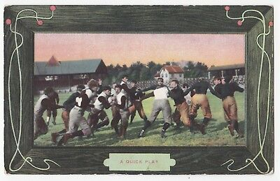 "AMERICAN FOOTBALL - c1910 POSTCARD - "" A QUICK PLAY """