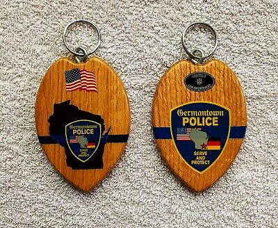 ~ WISCONSIN ~ 2 - Germantown Police Dept - PD Patches ~ Key Rings / Fobs