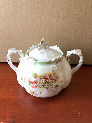 Antique Covered Sugar Bowl - Delicate & Beautiful with Hand-Painted details
