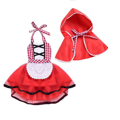 Little Red Riding Hood Halloween Costume for Baby Girl Fancy Party Tutu Dress Up
