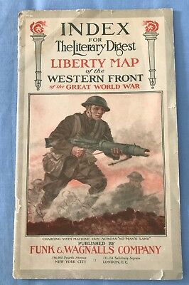 Antique Index for the Literary Digest Liberty Map of the Western Front  1918