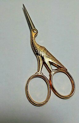 "Pair of German Vintage Bird Shaped Sewing Scissors Gold Color 3 5/8"" Long"