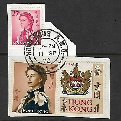 3 Stamps on paper Hong Kong A.M.C. Cancellation. Clean Reverse pic shows edge