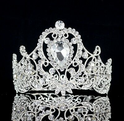 Princess Crystal Rhinestone Women Girl's Hair Tiara Crown Silver Prom Bridal T87