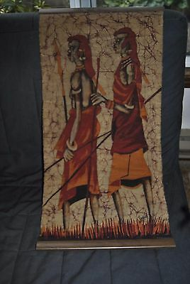 MAASAI African Wax Batik tribal warriors wall painting hanging with wooden ends
