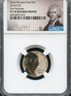 2018 S Jefferson Nickel REVERSE PROOF NGC PF70 (POR) FIRST RELEASES