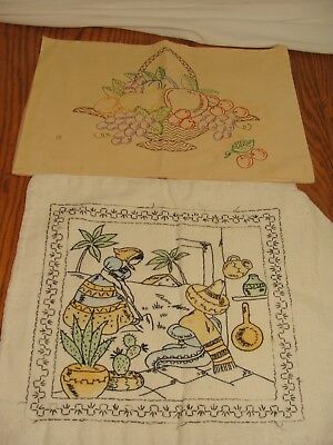 Vintage hand embroidered pillow covers Mexico, fruit, shabby chic