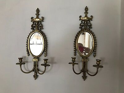 Pair of French antique brass sconces w/ beveled mirrors