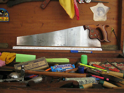 """Ugly 1890's - 1910 Disston D8 22"""" 10Pt Panel Crosscut Saw Hand Sharpened"""