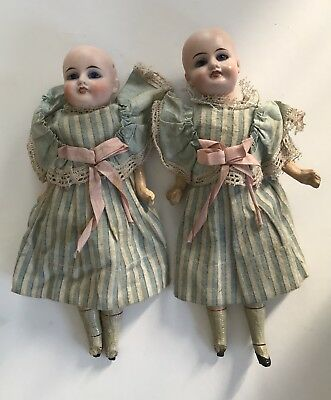 """Pair Of """"Twin"""" 11In. Bisque Head Comp Body Dolls, Orig Clothes, As Found, Nr!"""