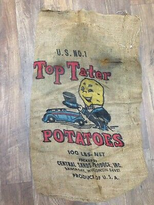Top Tater Burlap Potato Sack Bancroft, Wis Vintage Farm House Decor