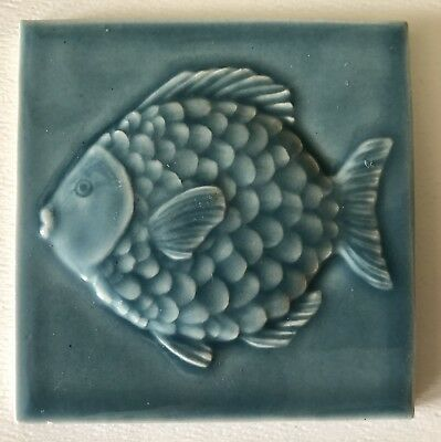 """Vintage Arts & Crafts 4"""" X 4"""" Pottery Tile Scaly Fish Sea Blue Unmarked"""