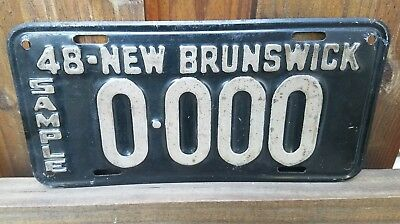 Vintage New Brunswick Canada 1948 Marked SAMPLE License Plate 0-000 Very Cool