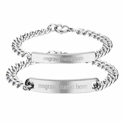 Personalized Engrave Stainless Steel Custom Silver Bracelet Couple His Hers Gift