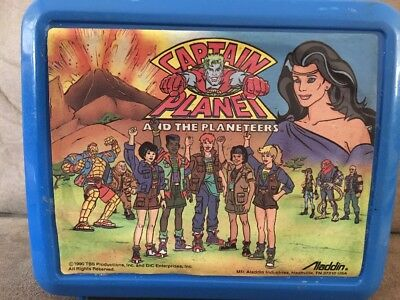 Vintage 1990 Aladdin Captain Planet & the Planeteers Lunchbox w/ Thermos