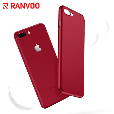 For iPhone 8 Plus Red Case Cover Ultra Thin Slim Hard Matte iPhone 7 Plus Bumper