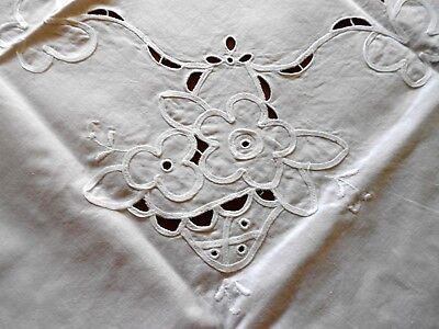 Vintage Cutwork and Embroidered White Linen Tablecloth Supper Cloth 80cm square