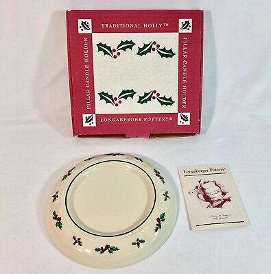 Longaberger Pottery Woven Traditions Traditional Holly Pillar Candle Holder Red