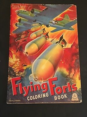 Original WW II 1944 FLYING FORTS Coloring Book MERRILL Publishing Company