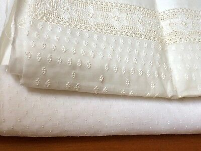 2 Vtg. Sheer Organza Embroidered Whitework Fabric Panels Swiss Dot Lace Floral