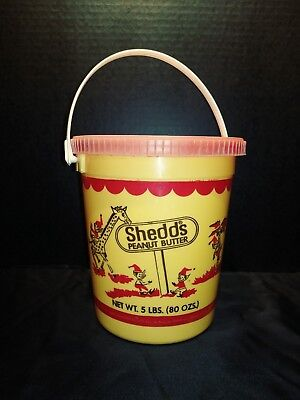 Vintage Shedd's Peanut Butter 5 lbs PLASTIC Pail With Lid Very RARE