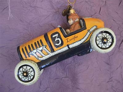 Weihnachtszierde Yellow Race Car - Vintage Wind-Up Toy Glass Christmas Ornament