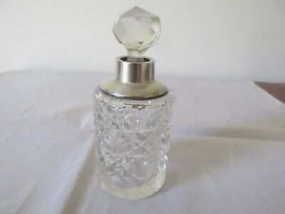 Antique Glass and Sterling Silver Perfume Bottle London 1908 - 09