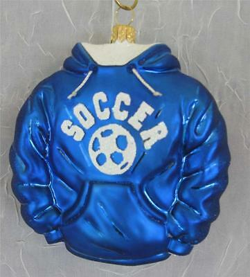 Blue Soccer Hoodie Blown Glass Christmas Ornament Nordstrom New