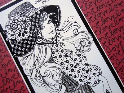 Vintage 1960's Boho Woman in Black Dress with Hat Birthday Greeting Card