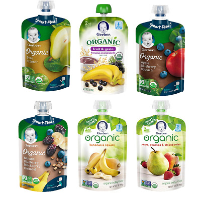 Gerber Organic 2nd Foods Baby Food, 6 Fruit & Veggie Flavors, 24 ~3.5 oz Pouches