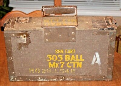 VTG WWII British 303 Ball Mk 7 CTN Wooden Ammo Crate Can