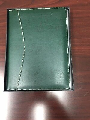 Barrington Green Leather Jr Portfolio Padfolio with Pen loop - replaceable pad
