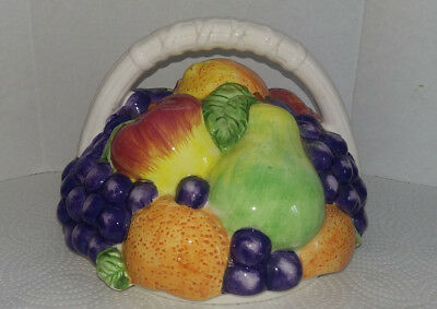 Basket of Fruit Ceramic Cookie Jar Replacement LID ONLY International INT'L Art