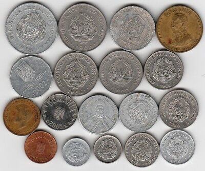 18 different world coins from ROMANIA some scarce