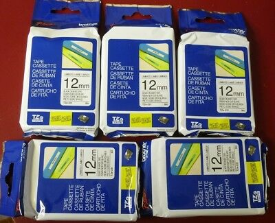 """BROTHER TZe-231 LOT OF 5 P-Touch 12mm Black on White Tape 1/2"""" TZ GENUINE 5-Pack"""