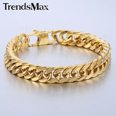 316L Stainless Steel Bracelet Chain Gold Tone Cut Double Curb Link Mens 10mm