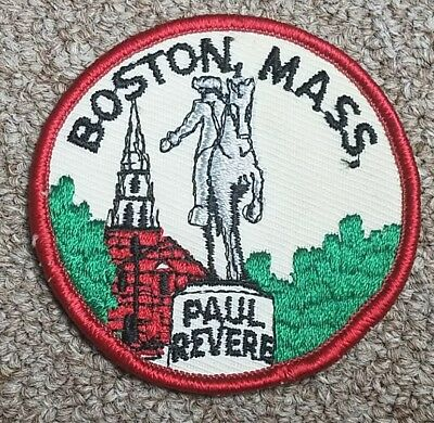 Paul Revere Boston, Mass Massachussetts Embroidered Statue Patch Vintage