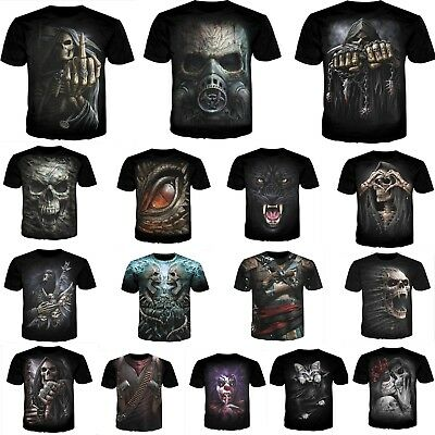 Hot Women's/men's SKULL HEAD 3D print Short Sleeve Casual Tops T-Shirt S-5XL TL8